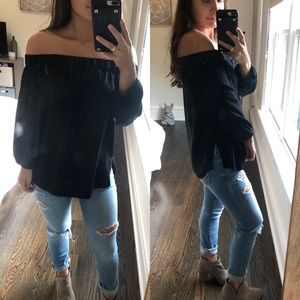 Halogen black off shoulder top